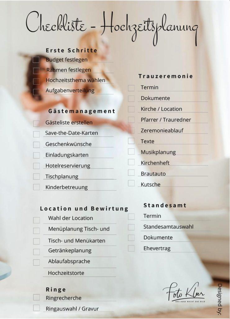 Eine Hochzeits Checkliste für Brautpaare in Düren